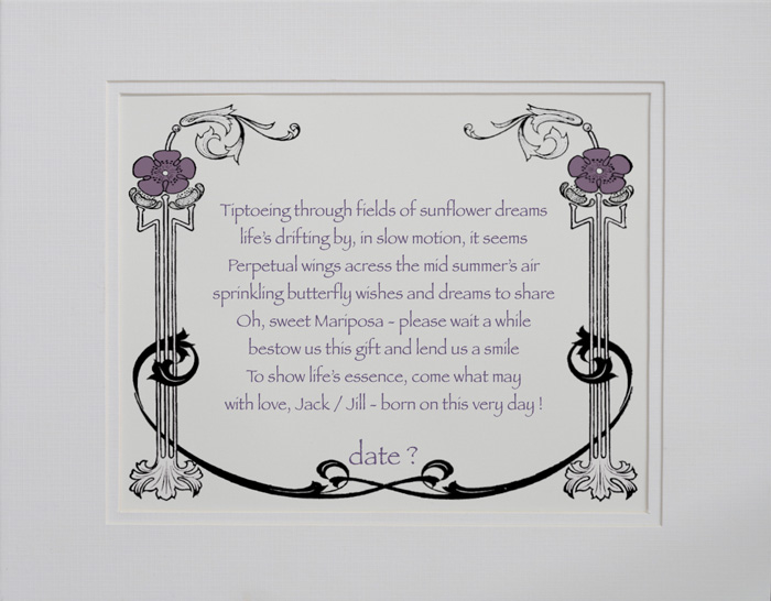 New Baby poetry gift #14a