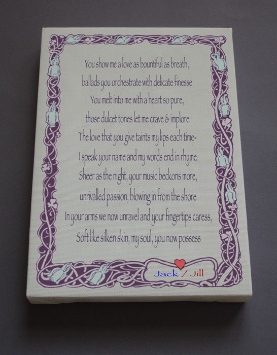 Engagement Gift Personalized Poetry Poem #C24a