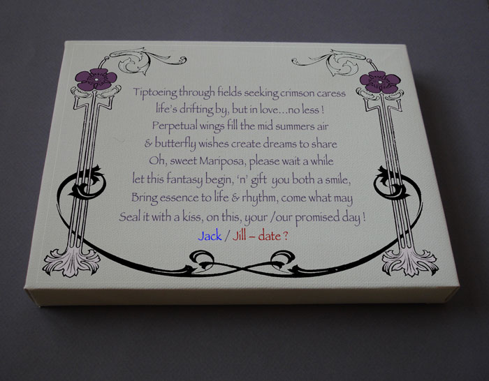 Wedding Gift Personalized Poetry Poem #C44